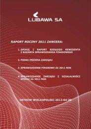 RAPORT ROCZNY 2011 ZAWIERA: - Grupa Kapitałowa LUBAWA