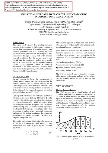 ANALYTICAL APPROACH TO TRANSIENT HEAT CONDUCTION IN ...
