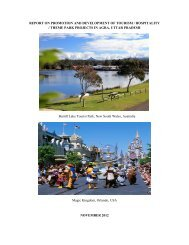 report on promotion and development of tourism / hospitality