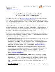 Washington Women's Foundation Awards $475,000 in Pooled ...