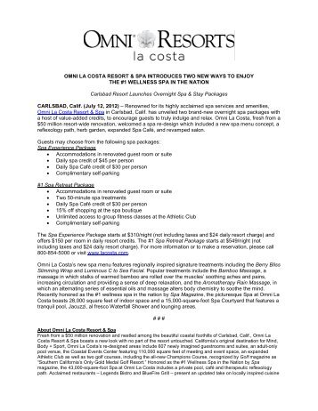 OMNI LA COSTA RESORT & SPA INTRODUCES TWO NEW WAYS ...