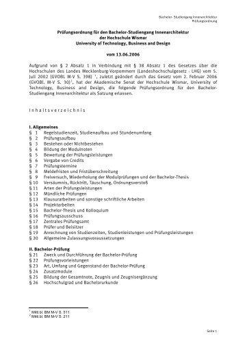 Studiengang innenarchitektur  Studien- und Prüfungsordnung der Universität Ulm für den Bachelor ...