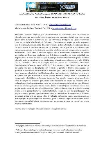 A AVALIAÇÃO NA EDUCAÇÃO ESPECIAL: INSTRUMENTO PARA ...