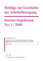 Beiträge zur Geschichte der Arbeiterbewegung Internet-Supplement ...
