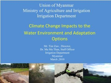 Climate Change Impacts to the Water Environment and Adaptation ...