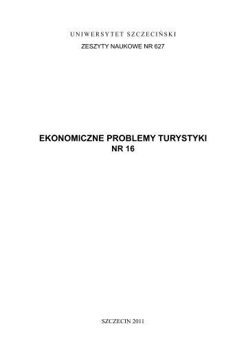 ekonomiczne problemy turystyki - Wydział Zarządzania i Ekonomiki ...