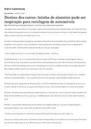 Destino dos carros: lati...is - Diário Catarinense - Lean Institute Brasil