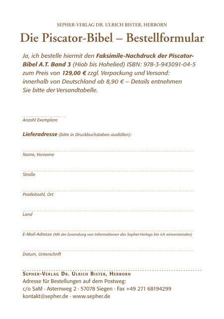 Die piscator-Bibel – Bestellformular - Sepher-Verlag Herborn