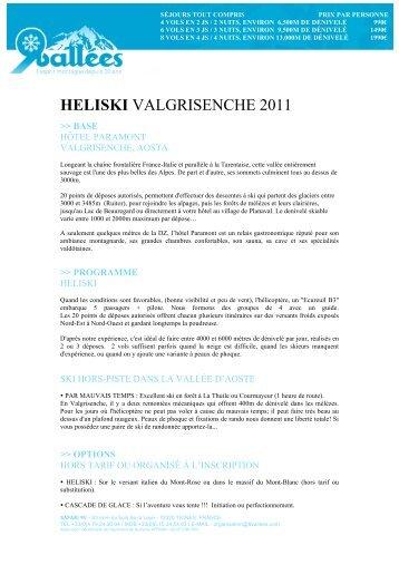 HELISKI VALGRISENCHE 2011 - Ski Safari 9 vallées