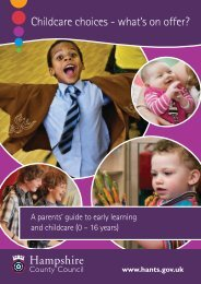 Childcare choices - what's on offer? - Hampshire County Council