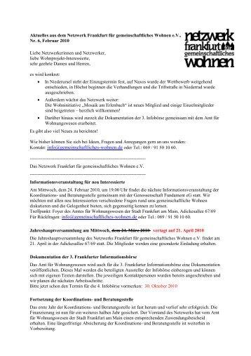 Nr. 6, Februar - Netzwerk Frankfurt für gemeinschaftliches Wohnen eV