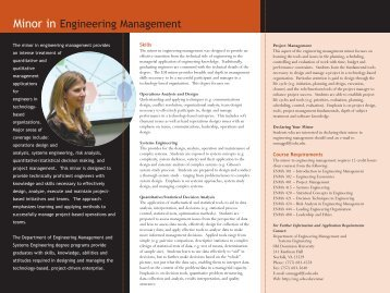 Minor in Engineering Management - College of Engineering and ...