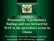 Presentation of preliminary findings and way forward for ... - CAADP