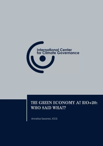 The green economy at Rio+20. Who said what? [.pdf] - International ...