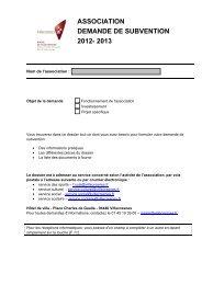 ASSOCIATION DEMANDE DE SUBVENTION 2012- 2013 - Ville de ...
