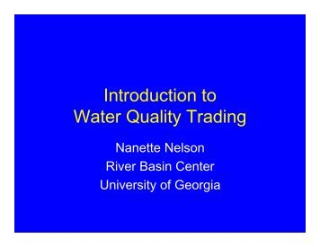 Introduction to Water Quality Trading - River Basin Center at the ...