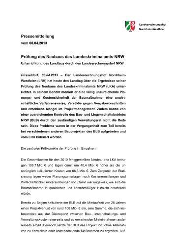 Pressemitteilung - Landesrechnungshof des Landes Nordrhein ...