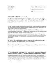 CHEM 4634 Polymer Chemistry Section 02/14/97 Test #1 Name: SS ...