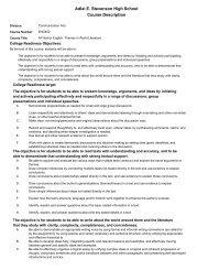 Adlai E. Stevenson High School Course Description
