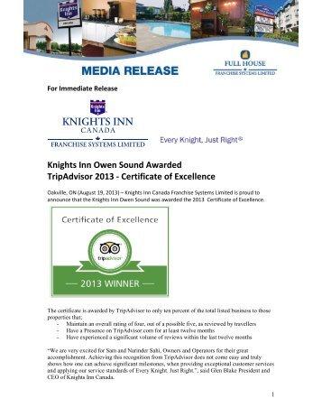 Knights Inn Owen Sound Awarded - TripAdvisor 2013 Certificate of ...