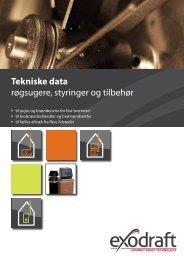 Tekniske data røgsugere, styringer og tilbehør