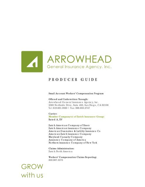 Producer Guide Arrowhead General Insurance Agency Inc