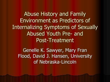 Abuse History and Family Environment as Predictors of ... - Psychology