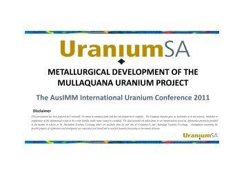 AusIMM Presentation 2011 - Metallurgy Simon Hall - UraniumSA