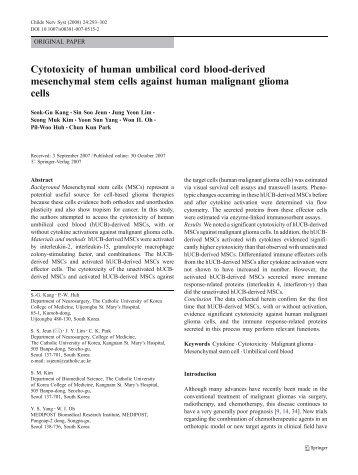 Cytotoxicity of human umbilical cord blood-derived mesenchymal ...