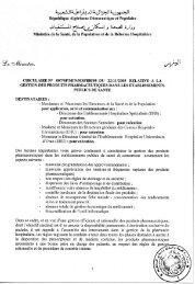 Circulaire N° 007/SP/MIN/MSPRH/05 du 22/11/2005 ... - Santé-DZ