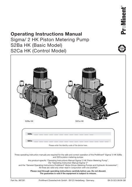 Operating Instructions Manual - Prominent Fluid Controls Australia