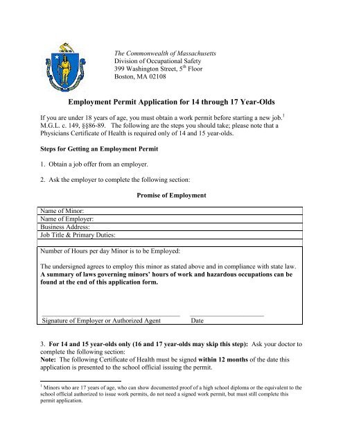 Employment Permit Application For 14 Through 17 Year Olds