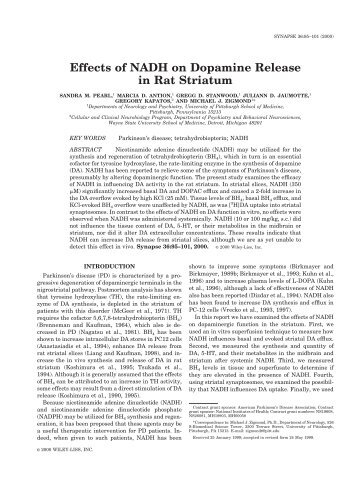Effects of NADH on dopamine release in rat striatum - NADH Apotheke
