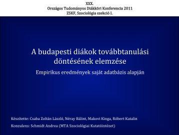A budapesti diákok továbbtanulási döntésének elemzése