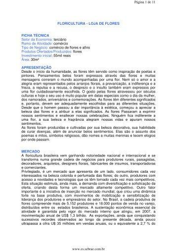 FLORICULTURA - LOJA DE FLORES FICHA TÉCNICA Setor da ...