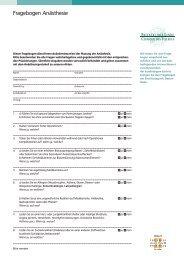 Fragebogen Anästhesie - Klinik Linde