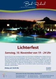 Lichterfest Samstag, 10. November von 19 – 24 Uhr