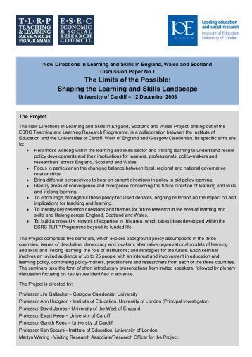 Discussion Paper I - Teaching and Learning Research Programme