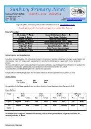 Newsletter No 4 March 1 2012 - Sunbury Primary School