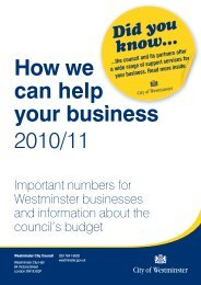 How we can help your business 2010/11 - Westminster City Council
