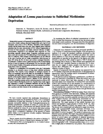 Adaptation of Lemna paucicostata to Sublethal ... - Plant Physiology