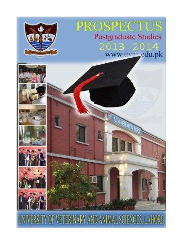 Postgraduate Prospectus Session (2013-14) - UVAS