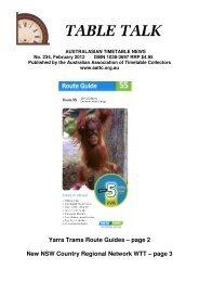 TOP TABLE TALK - Australian Association of Timetable Collectors