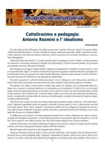 Cattolicesimo e pedagogia: Antonio Rosmini e l'idealismo