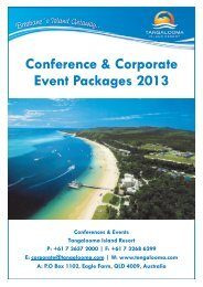 Conference & Corporate Event Packages 2013 - Tangalooma Wild ...