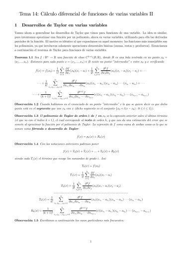 Tema 14: Cálculo diferencial de funciones de varias variables II