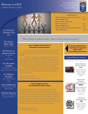 Cultural Center Newsletter - College of Humanities and Social ...