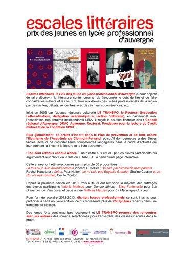 Téléchargez la présentation d'Escales littéraires 2012 ... - Le Transfo