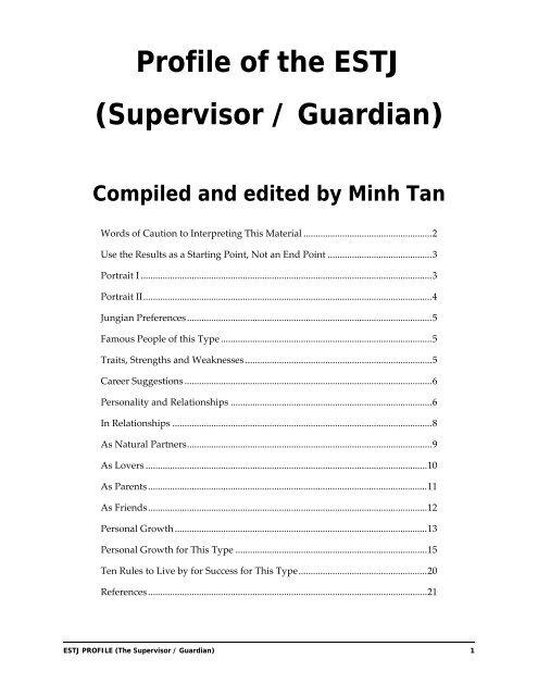 Profile of the ESTJ (Supervisor / Guardian) - Digital Citizen