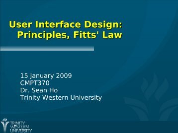User Interface Design: Principles, Fitts' Law